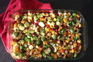 Festive Winter Fruits and Veggies With Tempeh Bacon